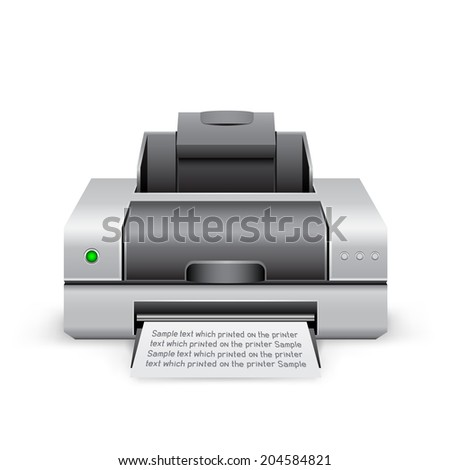The black inkjet printer on the white background - stock vector