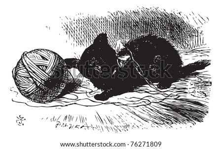 The black kitten with a ball of twine, Through the looking glass and what Alice found there book engraving. The kitten has a ball of wool or a ball of string. - stock vector
