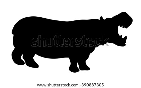 The black silhouette of a hippopotamus on a white background, animals, africa, silhouette, vector illustration