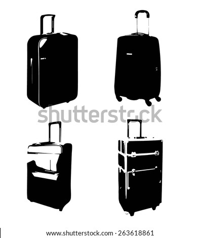 The black silhouette of luggage with hand luggage - stock vector