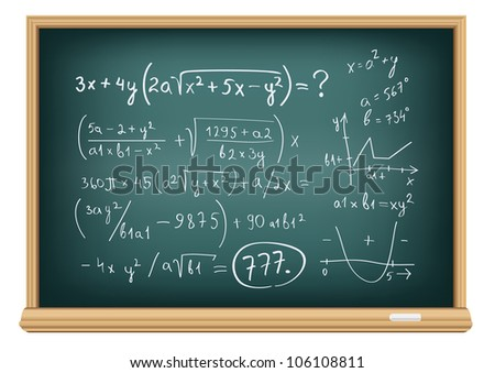 The blackboard with difficult equations isolated on a white background - stock vector