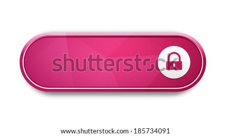 the blank glossy pink button with lock pictogram / the access oval button / the button - stock vector