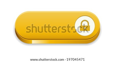 the blank glossy yellow button with lock pictogram / the access oval button / the button - stock vector