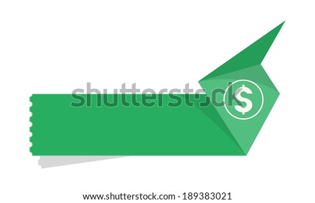 the blank green origami style tag with dollar icon / the paper tag with dollar symbol / the money label