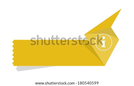 the blank label with info icon / the info origami label / the origami style label - stock vector