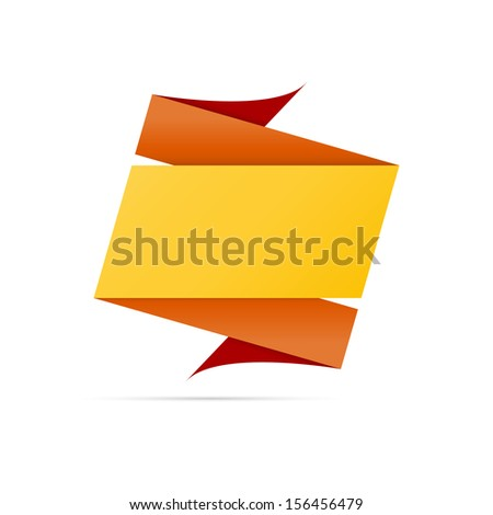 The blank origami style label in orange and yellow colors ready for your text / Two origami style label / The origami label - stock vector