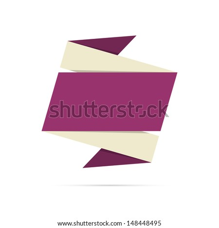The blank origami style label ready for your text / The origami style label / The origami label - stock vector