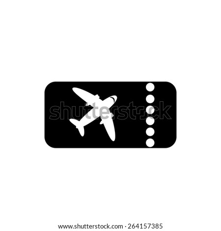 The blank ticket plane icon. Travel symbol. Flat Vector illustration. Button - stock vector