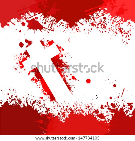 the bloody cross in a frame - stock vector