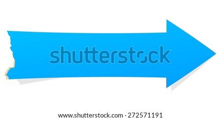 The blue arrow with tattered edge / The blank arrow illustration / The blank arrow - stock vector