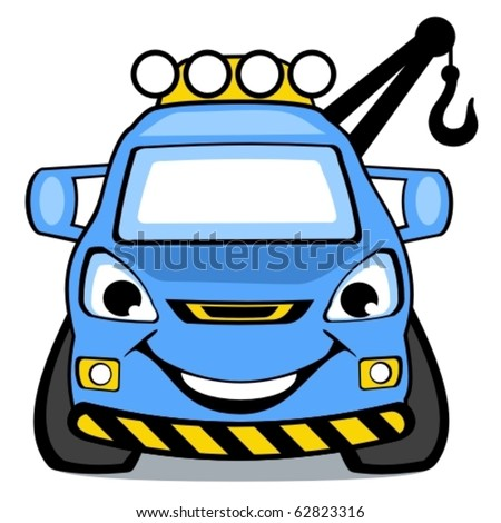 The blue cartoon vector smiling car the wrecker. - stock vector