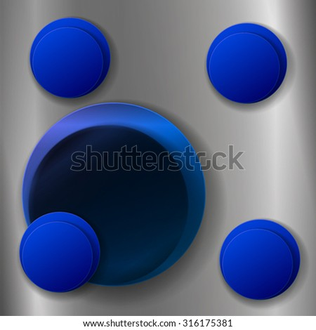 The blue circles on the square metallic background