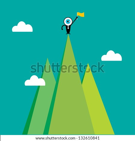 The blue eye leader on the top of mountain - stock vector