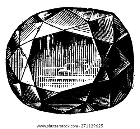 The Blue Hope Diamond, vintage engraved illustration. Industrial encyclopedia E.-O. Lami - 1875. - stock vector
