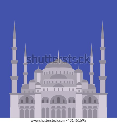 The Blue Mosque, Sultanahmet Camii, Istanbul, Turkey, middle east islamic architecture flat - stock vector