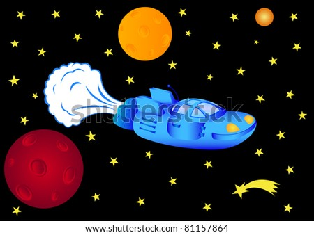 The blue space ship in outer space, vector illustration
