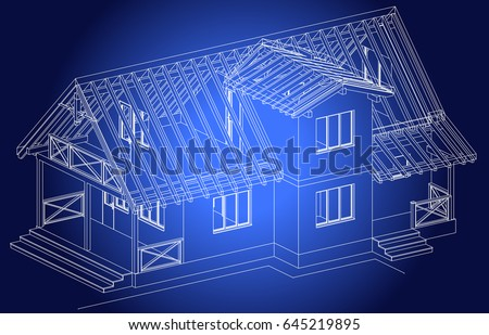 The Blueprint Of Architectural Design Half Timbered Residential House With Terrace Vector