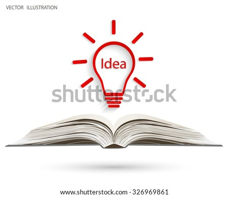 The book and light bulb idea. Vector illustration template design concept - stock vector