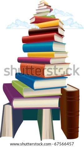 The book mountain, which top is lost in clouds - stock vector