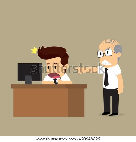 The boss forced to work hard. vector - stock vector