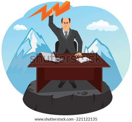 The boss is located on the top of the mountain. He gets angry and throws lightning. - stock vector