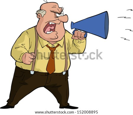 The boss yells into a megaphone vector illustration - stock vector