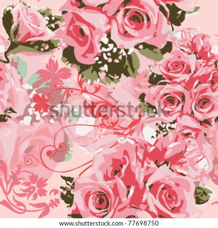 the bouquet of pink roses on dreamlike background,seamless pattern vector - stock vector