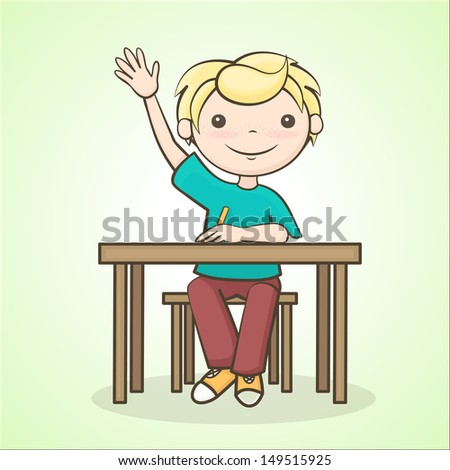 the boy answers the question, a student raised his hand, sitting at the table - stock vector