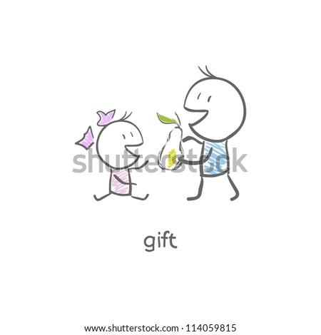 The boy gives a pear - stock vector