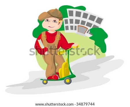 The boy going in school - stock vector