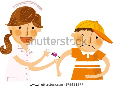The boy has an injection by nurse