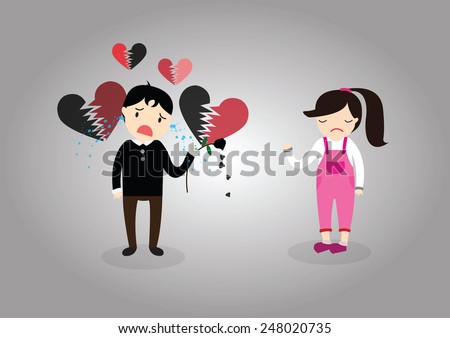 The boy is crying. The heartbreak of love. - stock vector