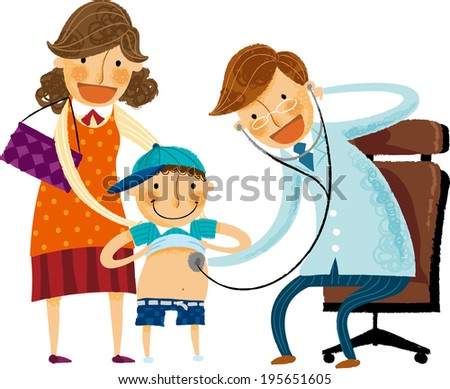The boy is having a check up   - stock vector