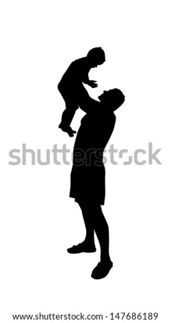 the boy on hands at the father a silhouette - stock vector