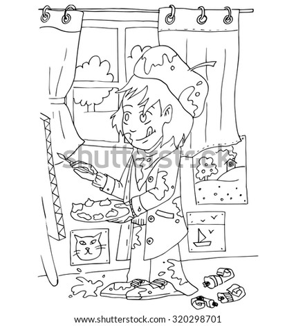 Boy Paints On Easel Next Art Stock Vector 320298701 - Shutterstock