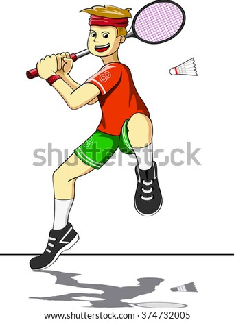 The Boy playing Badminton - stock vector