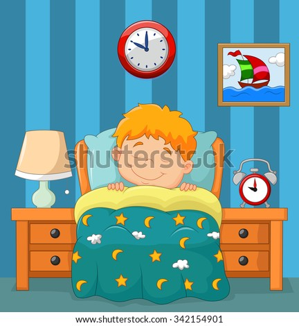 The boy sleeping in the bed - stock vector