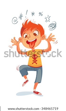 The boy swearing and grimacing for the camera. Funny cartoon character. Vector illustration. Isolated on white background - stock vector