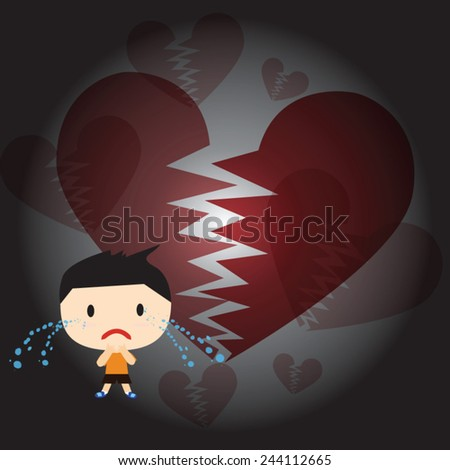 The boy was crying heartbreak of love. - stock vector