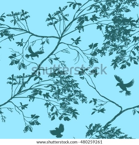 The branches of the trees, the birds, the sky. seamless pattern