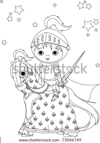 The Brave Knight On His Faithful Horse Coloring Page