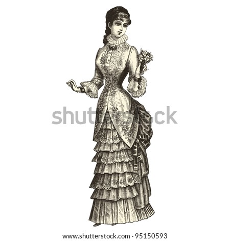 "The Bride - Vintage engraved illustration - ""La mode illustree"" by Firmin-Didot et Cie in 1882 France - stock vector"
