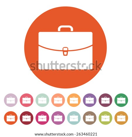 The briefcase icon. Portfolio symbol. Flat Vector illustration. Button Set - stock vector