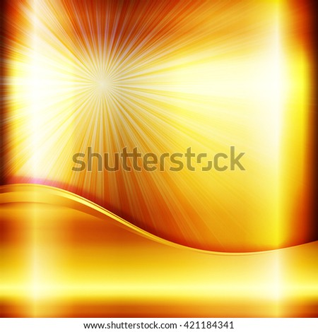 The bright metallic square background with light rays