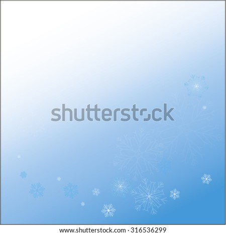The bright snowflakes on a blue background. Snowflakes on a separate layer