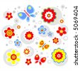 The bright stylized flowers and circles on a white background. - stock vector