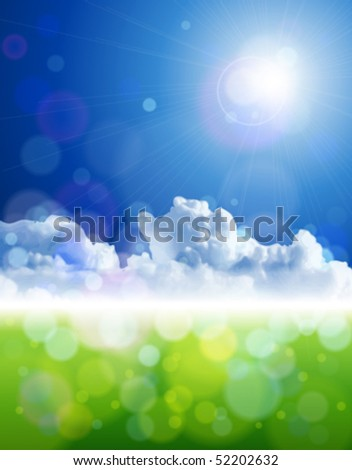 The bright sun, clear skies, fluffy clouds, green grass - ecological idyll. Eps10 - stock vector