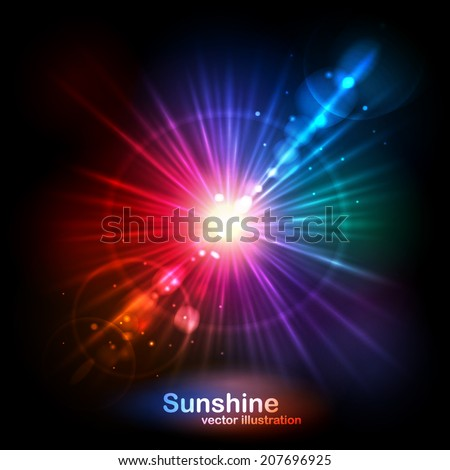 The bright sun, the glow and glare.Vector illustration can be used for web design, wallpapers, futuristic designs and banners. - stock vector