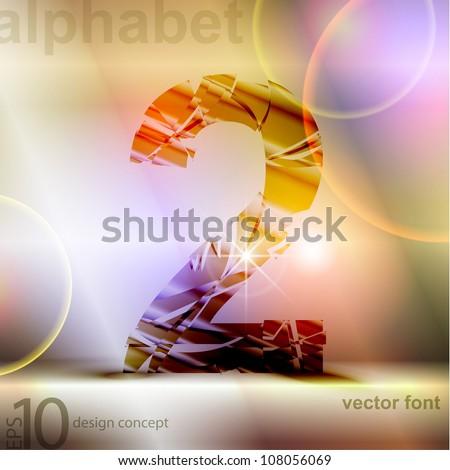 the broken glass font number 2 - stock vector