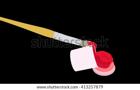 The brush in the red paint and an open tin of paint on black background
